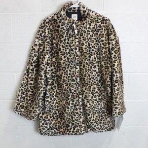 Gap Leopard Faux Fur Jacket Coat NWT